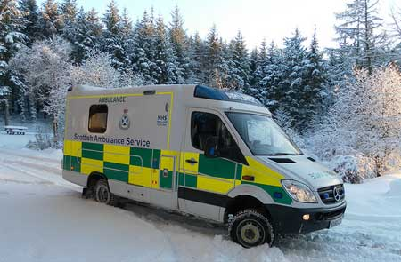 This image has an empty alt attribute; its file name is snow-ambulance.jpg